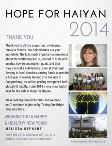 HOPE FOR HAIYAN THANK YOU 2014